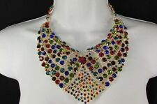 Fashion Women Bib Necklace + Earrings Red Silver Rhinestones Collar Chains