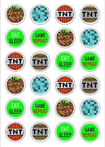 24 x Edible Cupcake Toppers - Rice / Wafer Paper - Perfect for Minecraft Fans