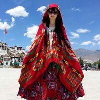 Women Lady Fringed Hooded Cloak Capes Shawls Ethnic Coat Scarf Tops Retro Ethnic