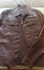 New Zara Black Genuine Men's Leather Bomber Jacket Large