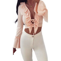 donna maglia chiffon manica lunga camicia estiva larga top stile casual t-shirt