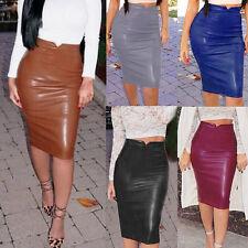 New Women's Ladies Slim Party Pnecil Leather Skirt Bodycon High Waist Tube Skirt