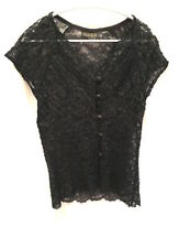 Masai 12 TOp Black With 'Silver' Thread Lacey Shaped Stretch