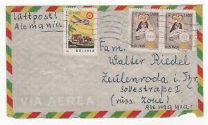 1962 BOLIVIA Air Mail Cover LA PAZ Casilla to ZEULENRODA GERMANY Pair