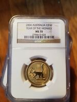 2004 AUSTRALIA GOLD $50 LUNAR YEAR OF THE MONKEY SERIES 1 NGC MS 70