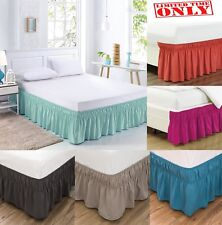 """Elastic Bed Skirt Cover Dust Ruffle Wrap 14"""" Drop Twin Full Queen King 20 Colors"""