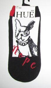 HUE~ONE SIZE~Women's Black STUBBORN DOG Footsie No Show Socks
