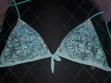 Victoria Secret Swim Suit Top Triangle Sequins EUC Large teal green gorgeous!