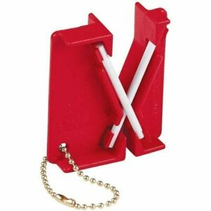 Lansky Mini Crock Stick, Red, Portable Knife Fish Hook Sharpener Keychain #LCKEY