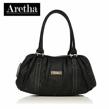 Aretha Genuine Cowhide Leather handbag Lady shoulder satchel tote bag sale Black