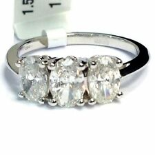 18 Carat Anniversary Three-Stone White Gold Fine Rings