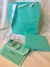 Tiffany & Co. Sterling Silver 1837 Double Ring Baby Rattle Box& Pouch