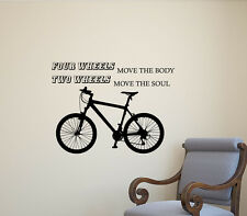 Bicycle Wall Decal Quote Biker Gift Garage Vinyl Sticker Wheels Decor Poster 376