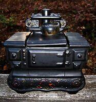 Vintage McCoy Pottery Ceramic Black Cookie Jar Oven Wood Burning Stove RARE!