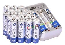 20x AA 2A 3000mAh 1.2 V Ni-MH BTY Rechargeable Battery Cell+ AA Battery Charger