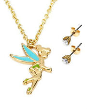 Disney Tinkerbell Necklace & Earrings set W/Crystal in Gold Plated Base Metal