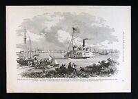 Leslie Civil War Print  View of the City of New Berne North Carolina Neuse River