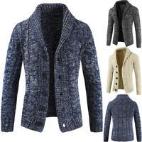 Men Chunky Collar Cardigan Sweater Knitted Jumper Coat Jacket Warm Tops Knitwear