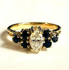 GIA certified .53ct marquise engagement diamond 14k yellow gold sapphire ring