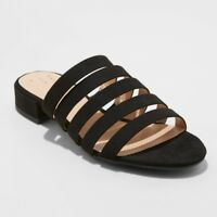 A New Day Women's Amali Multi Strap Microsuede Low Heeled Slide Sandals, Black