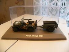 Voiture Miniature Militaire 1/43 Jeep Willys Décapotable + remorque