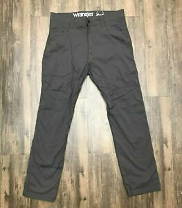 Wrangler Outdoor Mens Lined Gray Hiking Stretch Pants Size 34 x 30