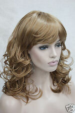 New curly women' medium length full wig synthetic hair light strawberry blonde