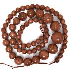 "6-14mm goldstone round beads 17"" strand"