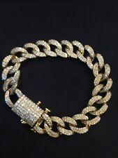 Cuban Link Bracelet In 585 14K Gold 4.75 Cts Round Brilliant Cut Diamonds Men's