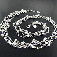 NECKLACE PENDANT CHAIN REAL 925 STERLING SILVER S/F ANTIQUE BEAD STRAND DESIGN