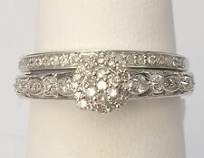 White Gold Halo Vintage Flower Style Round Diamonds Bridal Set Wedding Ring Band