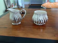 Vtg Sadler Sugar and Creamer #2737 Swirl White and Silver (Excellent Condition)
