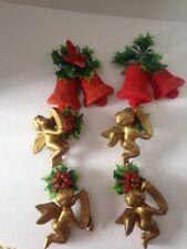 Vintage Hanging Christmas Flocked Bells, Cherubs, And Poinsettias.