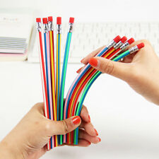 5pcs Bendy Flexible Stationery Writing Tool School Supplies Pencil With Eraser