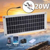 20W Flexible Solar Panel Powered 12V Battery Charger 5V USB For Car Boat