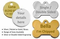 Personalised Round / Bone Engraved Dog ID Name Tag Small / Large Pet / Cat Tags