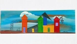 Graciela Bianglino Mixed Medium Art Collage 03' Signed COA La Boca Argentina