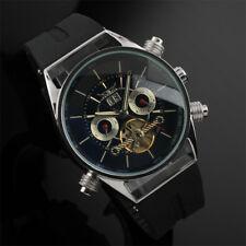 Mens Watch Mechanical Black Dial Stainless Steel Tourbillon Design Date Luxury