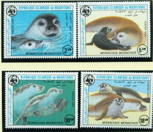 MAURETANIEN, 1986 WWF Mönchsrobbe 871-74 **, FDC, Maximkarte, (9459)
