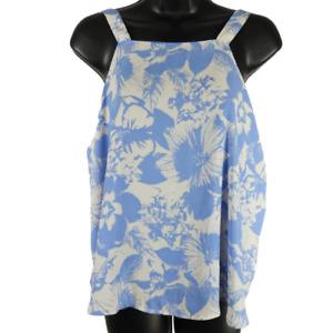 Lush Blue & White Floral Sleeveless Top Women's Size Medium