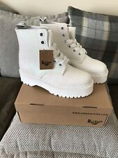 BNWB Dr Martens Molly Glitter Iridescent White Platform Quad Boots UK 9 £159
