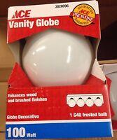 Box of 6 - Ace Vanity G40 Frosted Bulb 100W 120V Med Base E26 White