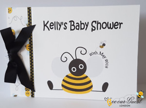 PERSONALISED BUMBLE BEE - BABY SHOWER / BIRTHDAY /CHRISTENING ETC ... GUEST BOOK