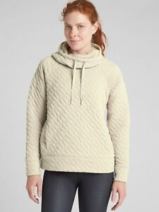 NEW GAP GapFit Jacquard Knit HOODED Pullover HOODIE Anchorage CREAM M RRP £72.95