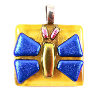 """DICHROIC Fused Glass Silver Butterfly PENDANT Amber Blue Gold Pink 1.25"""" 30mm"""
