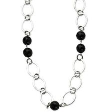 """Stainless Steel Neck Large Open Oval Link Chain Necklace w/ Black Onyx Gems 24"""""""