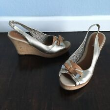 Sperry Top Sider Southsea Gold Leather open Toe Slingback Cork Wedges Women's 10