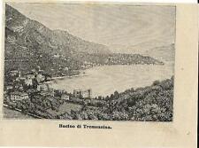 Stampa antica TREMEZZO TREMEZZINA veduta panoramica LAGO di COMO 1888 Old Print