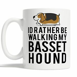 Id Rather Be Walking My Basset Hound Mug Coffee Cup Gift Idea Dog Owner Funny