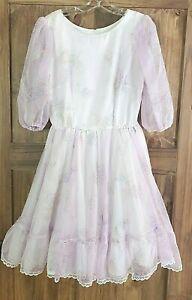 Vintage Square Dance Co One-Piece Purple Floral Dress - Size 14